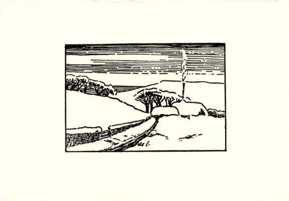 Card front with image block of a snow-covered landscape featuring a house with a road leading up to it. Smoke is coming from the chimney of the house.