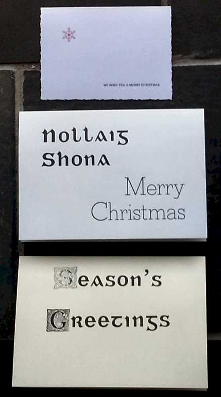 Three Christmas Cards made at the Letterpress Workshop at the National Print Museum