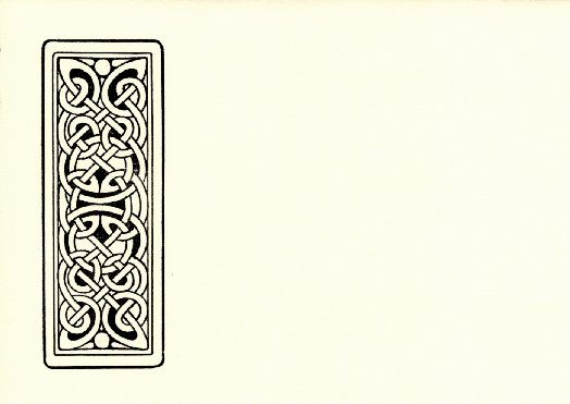 Card with celtic knotwork design on left edge