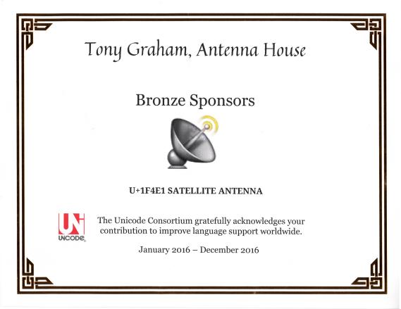 Adoption certificate for U+1F4E1 SATELLITE ANTENNA